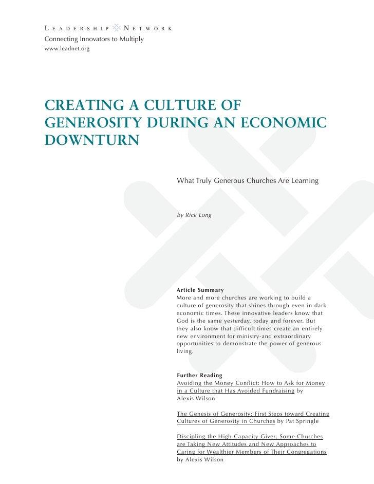 Generosity during economic downturn