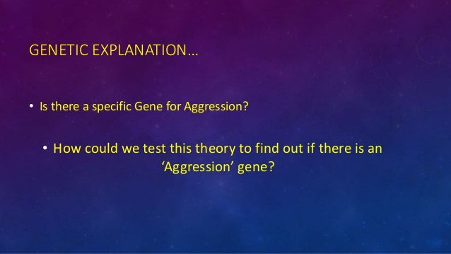 gentic influences on aggression Genetic influences on aggression genes do not directly cause aggression but influence elements of our biology that contribute to it this can be demonstrated through the following methods 1animal breeding studies in animal breeding studies, animals are selectively bred for certain traits.