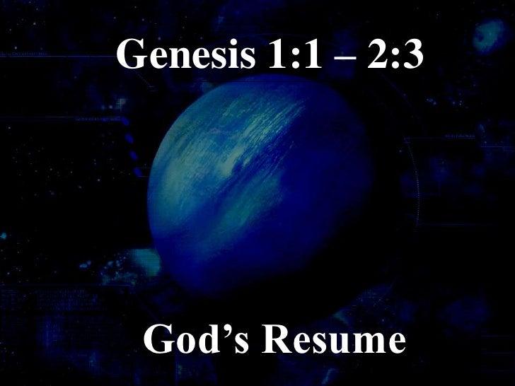 Genesis(1) Basic Principles
