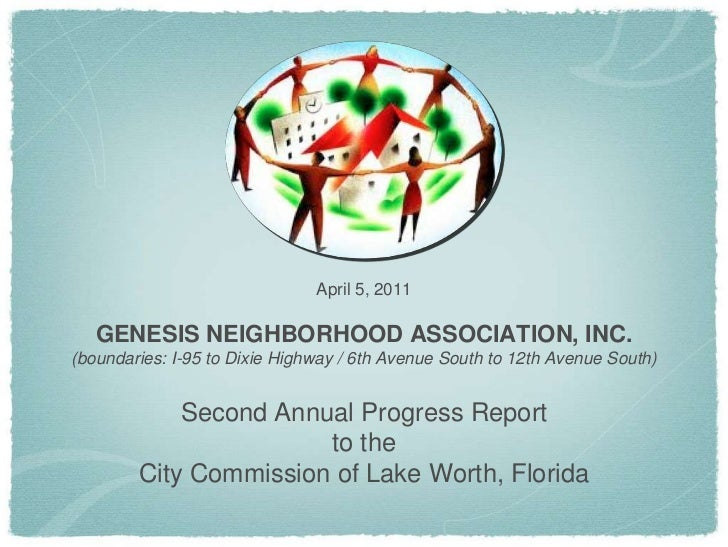 April 5, 2011<br />GENESIS NEIGHBORHOOD ASSOCIATION, INC.<br />(boundaries: I-95 to Dixie Highway / 6th Avenue South to 12...