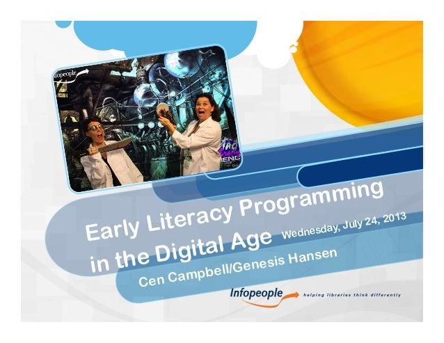 InfoPeople Webinar: Early Literacy Programming in the Digital Age