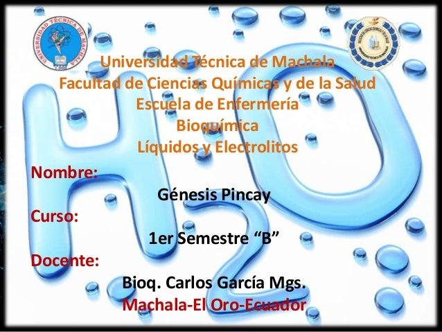 Universidad Técnica de Machala Facultad de Ciencias Químicas y de la Salud Escuela de Enfermería Bioquímica Líquidos y Ele...