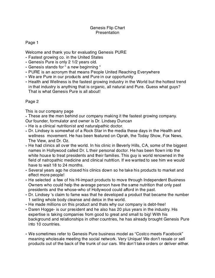 Genesis pure's flip chart presentation