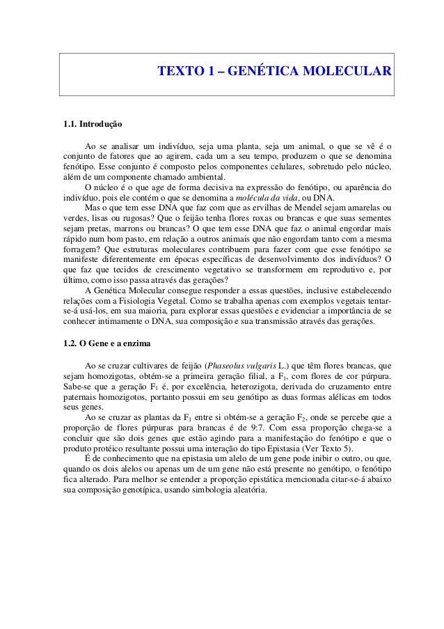 TEXTO 1 – GENÉTICA MOLECULAR 1.1. Introdução Ao se analisar um indivíduo, seja uma planta, seja um animal, o que se vê é o...
