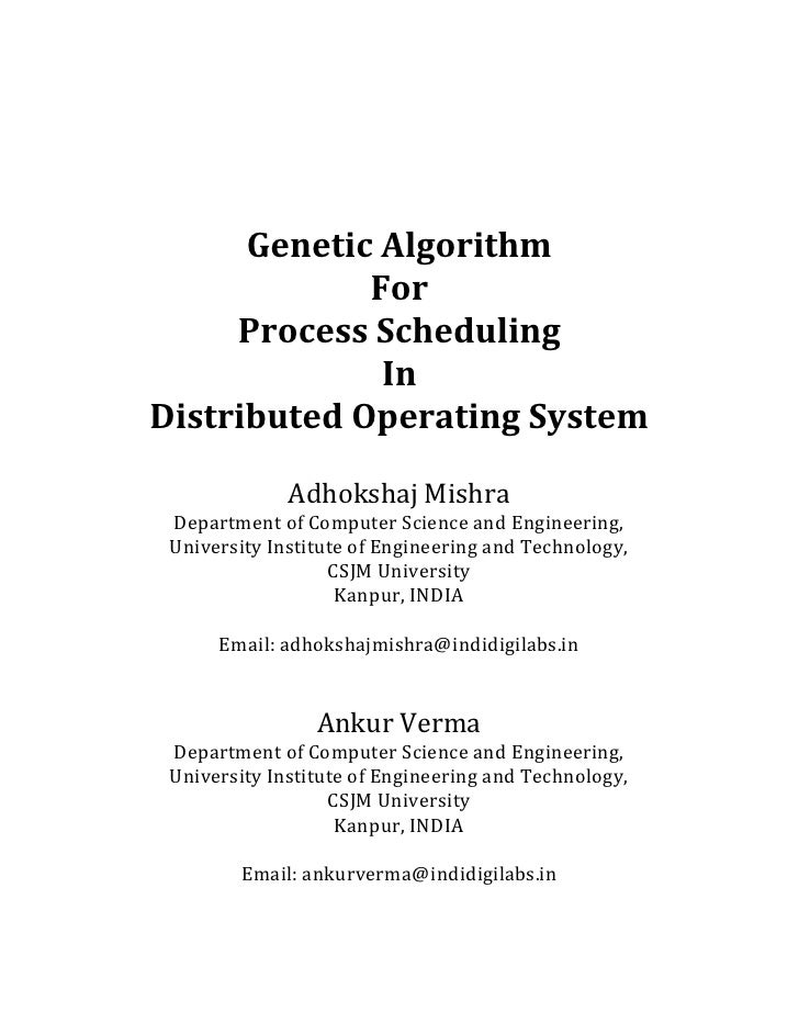 Genetic Algorithm             For     Process Scheduling              InDistributed Operating System              Adhoksha...