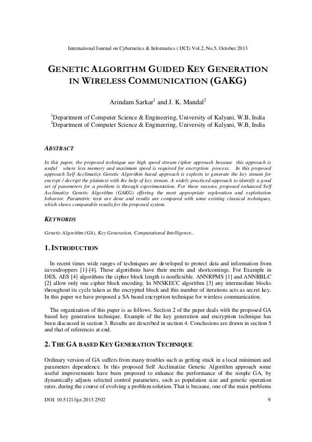 Genetic algorithm guided key generation in wireless communication (gakg)