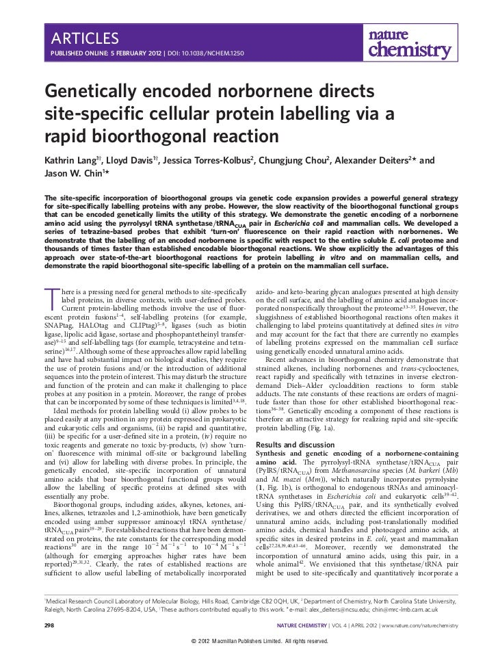 ARTICLES    PUBLISHED ONLINE: 5 FEBRUARY 2012 | DOI: 10.1038/NCHEM.1250Genetically encoded norbornene directssite-specific ...