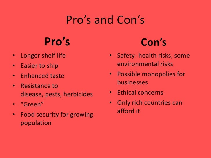 pros and cons of gm foods essay The organic food industry capitalise on the fact that their food is a lot healthier than gm foods or non-organic foods but that is not always the case pros of organic food production organic food is generally good for the environment and our health but this varies according to the farm style, produce and scale of the farm.