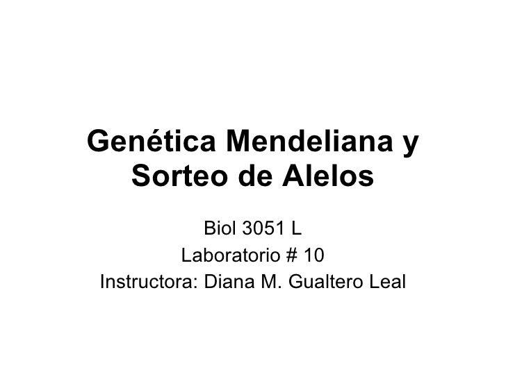 Genética Mendeliana y Sorteo de Alelos Biol 3051 L Laboratorio  # 10 Instructora: Diana M. Gualtero Leal
