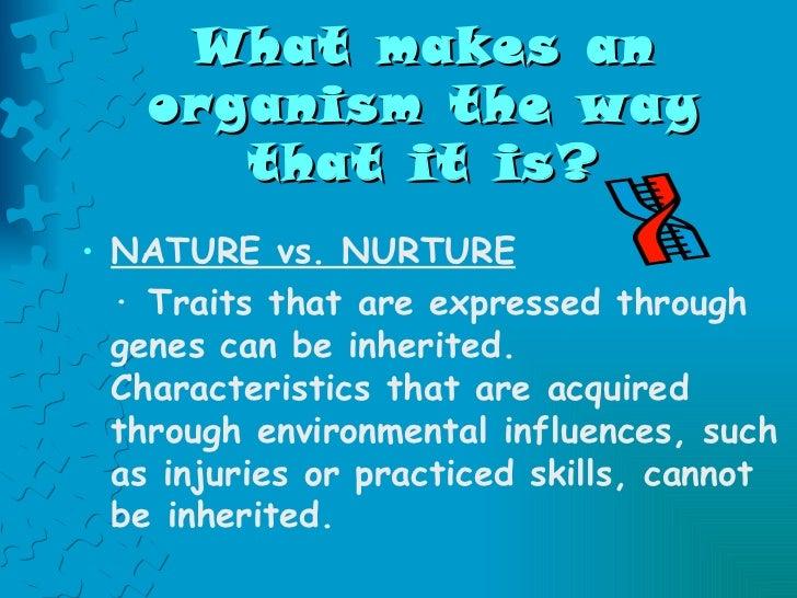 What makes an organism the way that it is? <ul><li>NATURE vs. NURTURE </li></ul><ul><li>· Traits that are expressed throug...