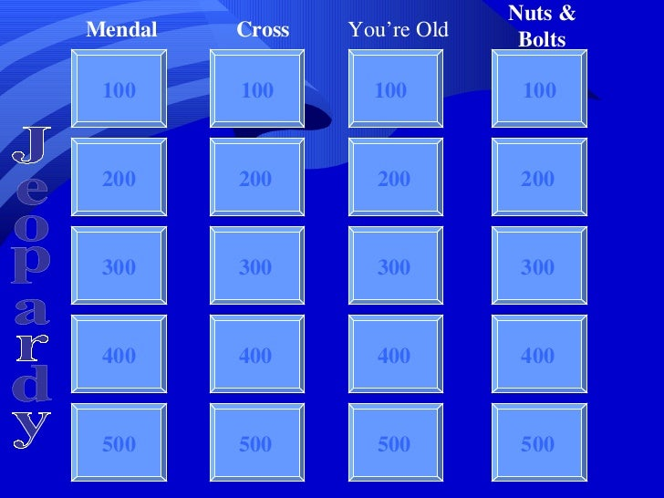 Jeopardy 100 100 100 100 200 300 400 500 Mendal Cross You're Old Nuts & Bolts Jeopardy 200 300 400 500 200 300 400 500 200...