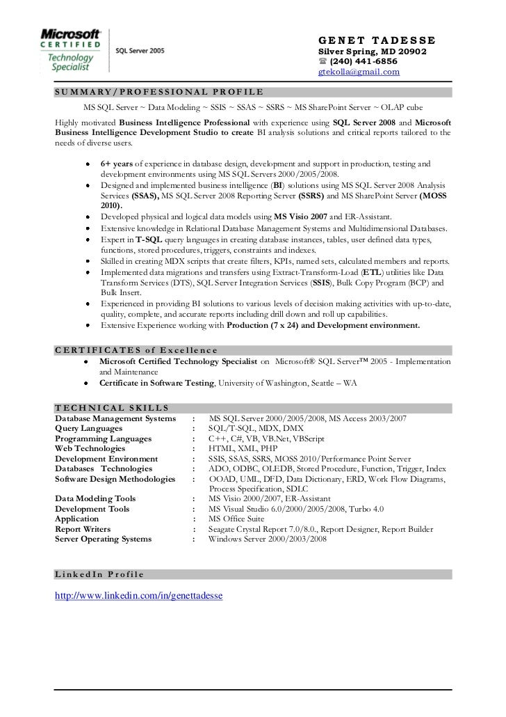 Ssrs resume examples