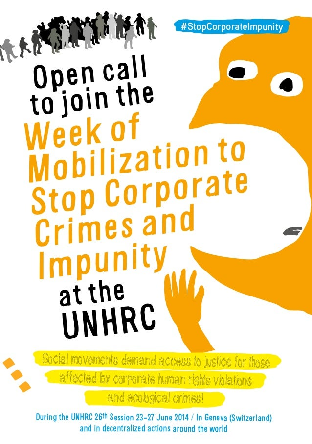 Open call to join the Week of Mobilization to Stop Corporate Crimes and Impunity at the UNHRC Social movements demand acce...