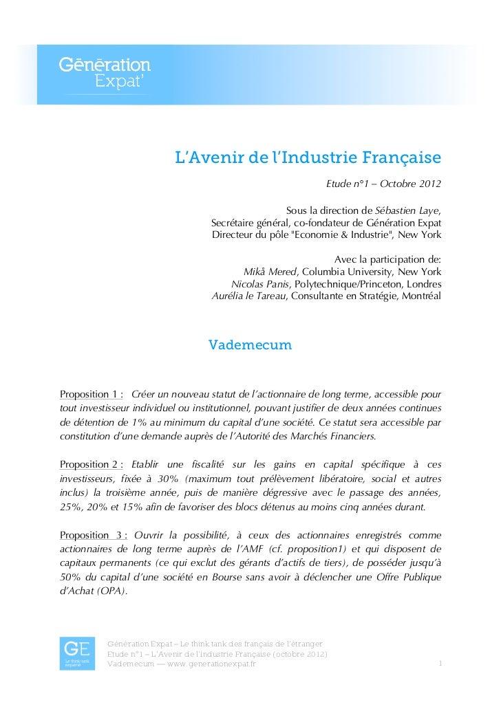 L'Avenir de l'Industrie Française                                                                      Etude n°1 – Octobre...