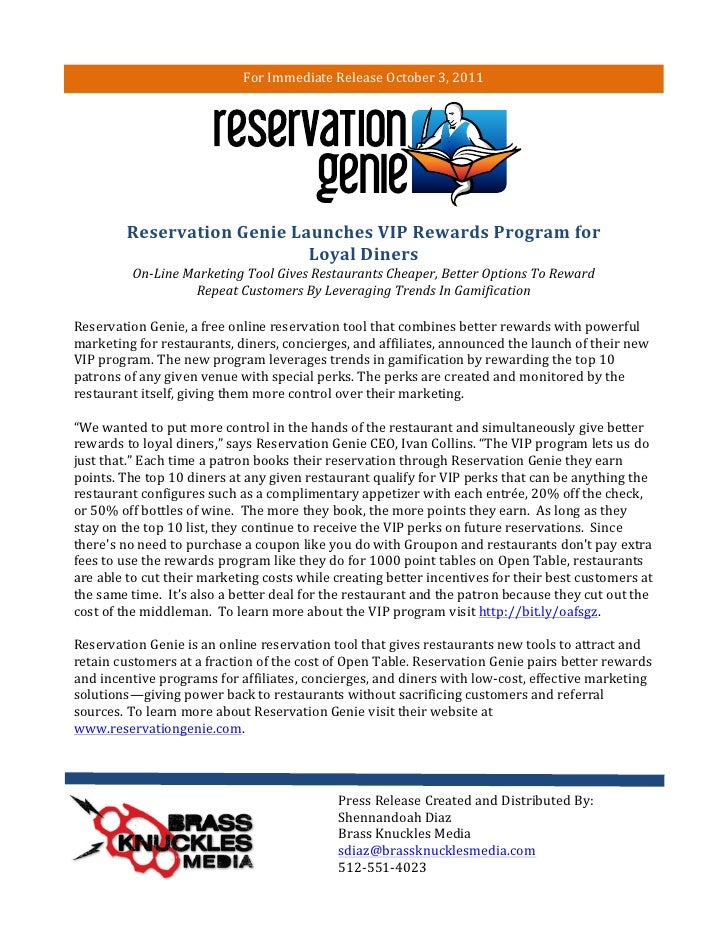 For	  Immediate	  Release	  October	  3,	  2011	  	                       Reservation	  Genie	  Launches	  VIP	  Rewards	 ...