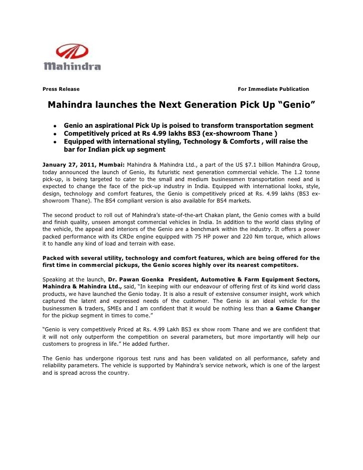 Press Release                                                              For Immediate Publication Mahindra launches the...