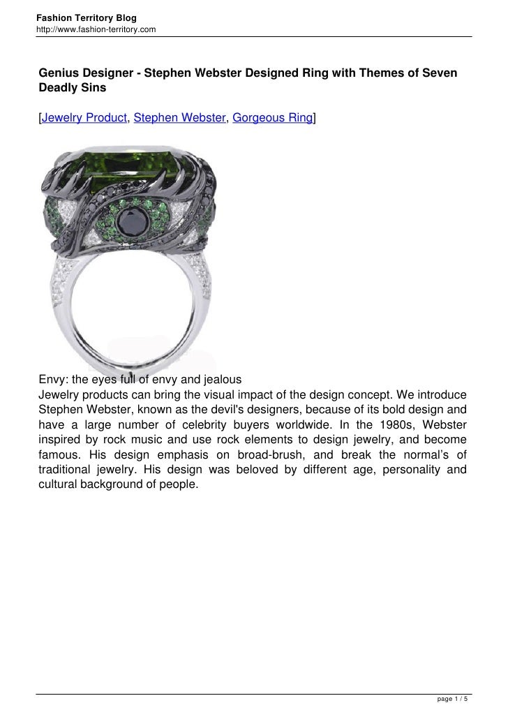 Fashion Territory Bloghttp://www.fashion-territory.comGenius Designer - Stephen Webster Designed Ring with Themes of Seven...