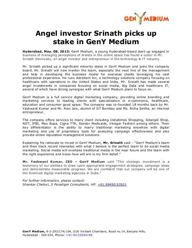Angel investor Srinath picks upstake in GenY MediumHyderabad, May. 08, 2013: GenY Medium, a young Hyderabad-based start-up...