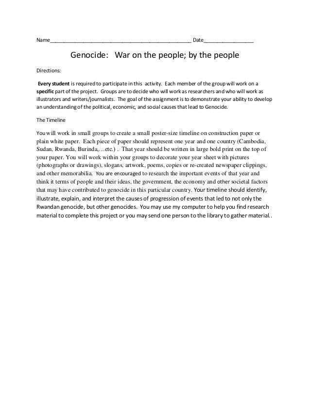 Name___________________________________________________ Date__________________Genocide: War on the people; by the peopleDi...