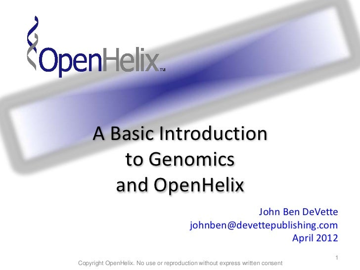 Genomics and OpenHelix - Basic Intro 12apr09