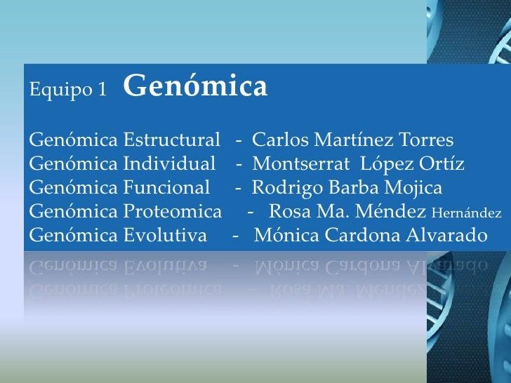 Equipo 1   Genómica<br />Genómica Estructural   -  Carlos Martínez Torres<br />Genómica Individual    -  Montserrat  López...