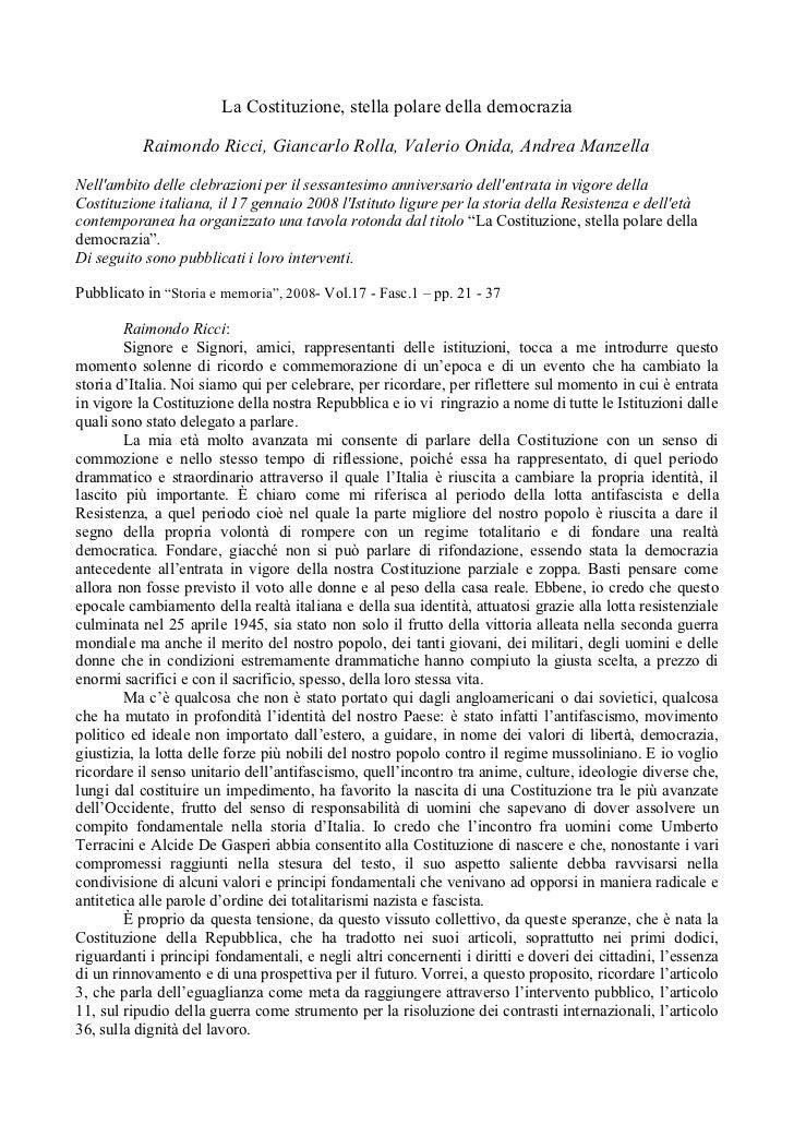 La Costituzione, stella polare della democrazia           Raimondo Ricci, Giancarlo Rolla, Valerio Onida, Andrea ManzellaN...