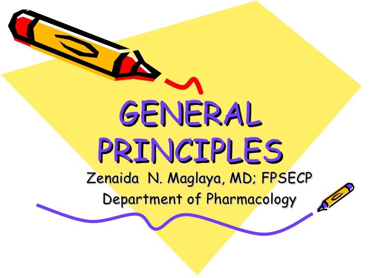 GENERAL PRINCIPLES Zenaida  N. Maglaya, MD; FPSECP Department of Pharmacology
