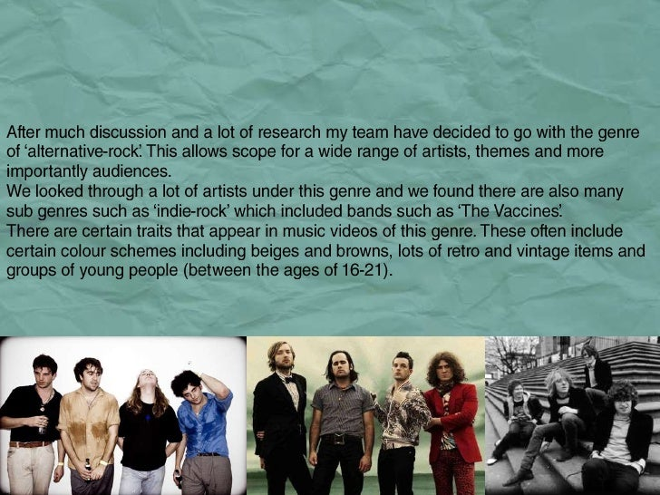 Genre.<br />After much discussion and a lot of research my team have decided to go with the genre of 'alternative-rock'. T...