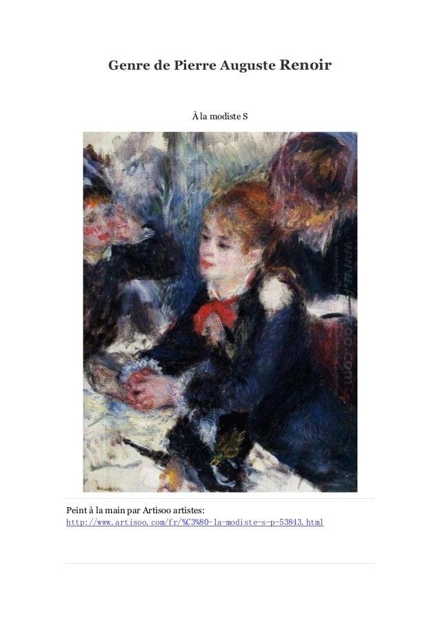 Genre de Pierre Auguste Renoir  Àla modiste S  Peint à main par Artisoo artistes: la http://www.artisoo.com/fr/%C3%80-la-m...