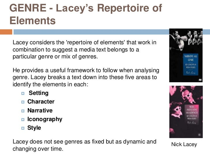 GENRE - Lacey's Repertoire ofElementsLacey considers the repertoire of elements that work incombination to suggest a media...