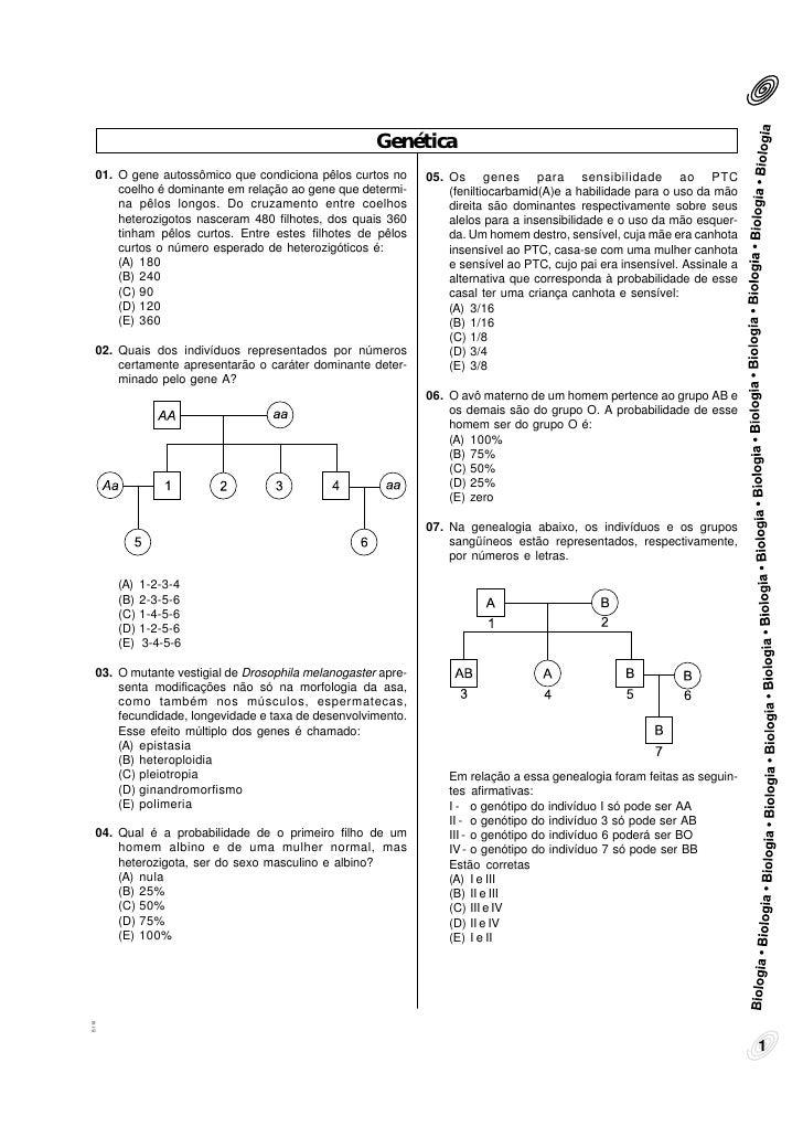 Genética   01. O gene autossômico que condiciona pêlos curtos no      05. Os genes para sensibilidade ao PTC       coelho ...