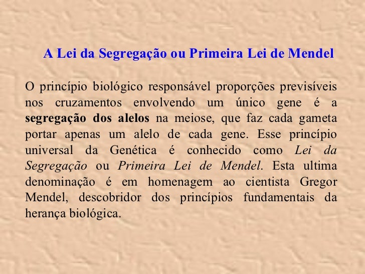<ul><ul><li>A Lei da Segregação ou Primeira Lei de Mendel </li></ul></ul><ul><li>O princípio biológico responsável proporç...