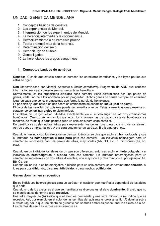 CEM HIPATIA.FUHEM. . PROFESOR. Miguel A. Madrid Rangel. Biología 2º de bachillerato 1 UNIDAD. GENÉTICA MENDELIANA 1. Conce...