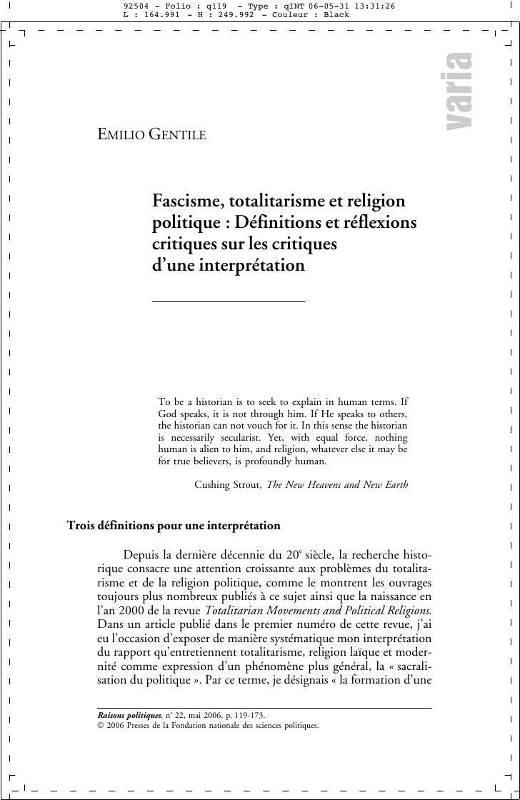 varia      EMILIO GENTILE                        Fascisme, totalitarisme et religion                      politique : Défi...