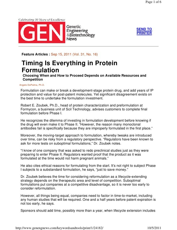 Timing Is Everything In Protein Formulation by Angelo DePalma, Ph.D.