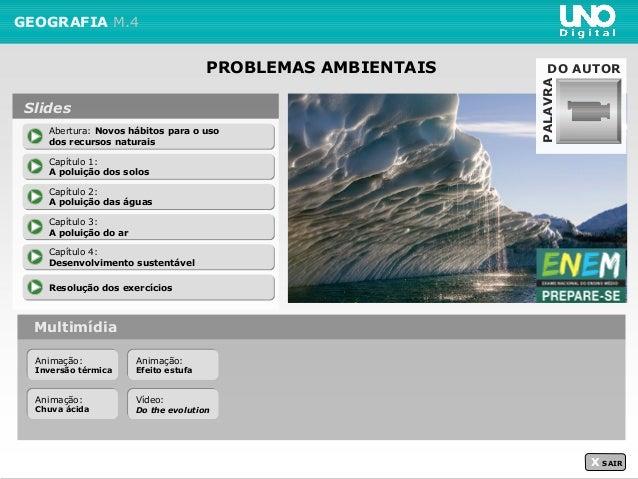PROBLEMAS AMBIENTAIS GEOGRAFIA M.4 Multimídia X SAIR Abertura: Novos hábitos para o uso dos recursos naturais Abertura: No...