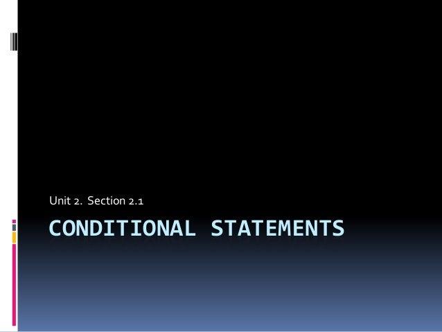Geo 2.1 condtional statements