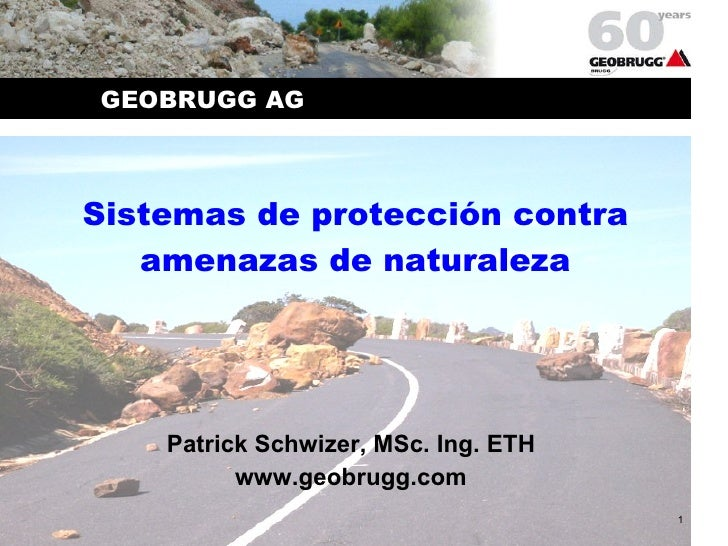 Sistemas de protección contra amenazas de naturaleza Patrick Schwizer, MSc. Ing. ETH www.geobrugg.com GEOBRUGG AG