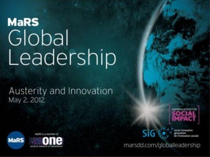 Geoff Mulgan on Austerity and Innovation - MaRS Global Leadership