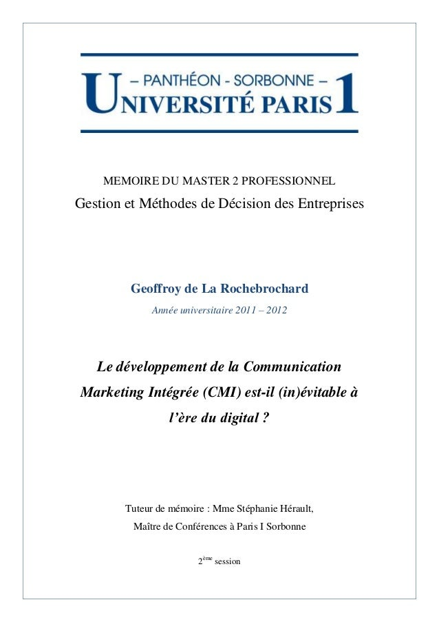 exemple de memoire master 2 finance