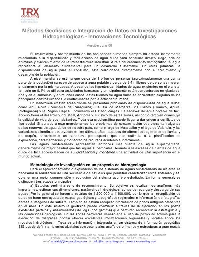 Métodos Geofísicos e Integración de Datos en Investigaciones         Hidrogeológicas - Innovaciones Tecnológicas          ...