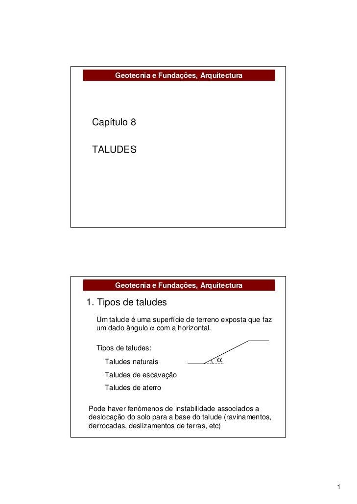 Geotecnia e Fundações, Arquitectura Capítulo 8 TALUDES       Geotecnia e Fundações, Arquitectura1. Tipos de taludes  Um ta...