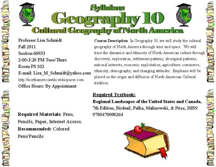 Geog 10 syllabus