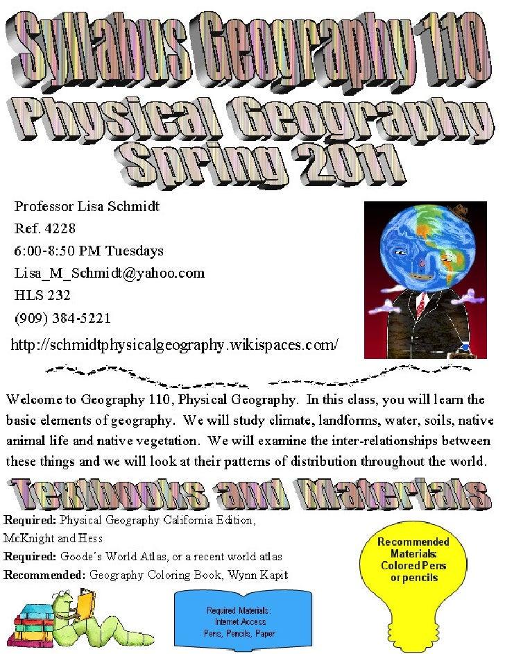 Geog 110 sp 2011 syllabus
