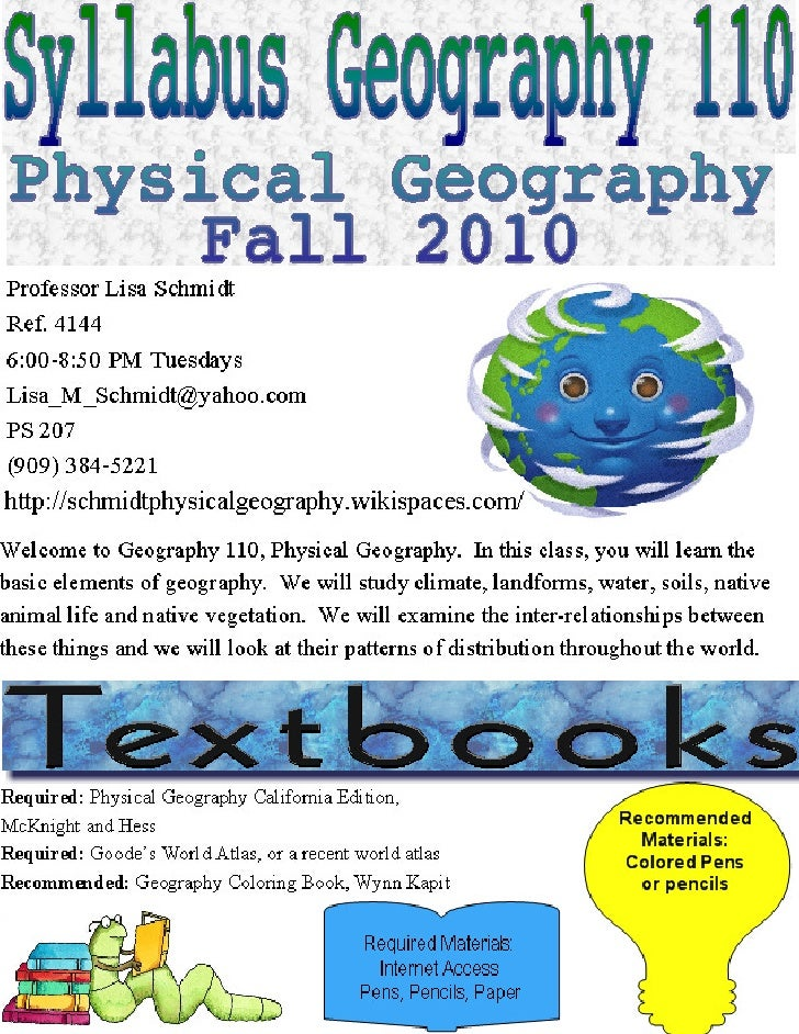 Geog 110 syllabus fall 2010