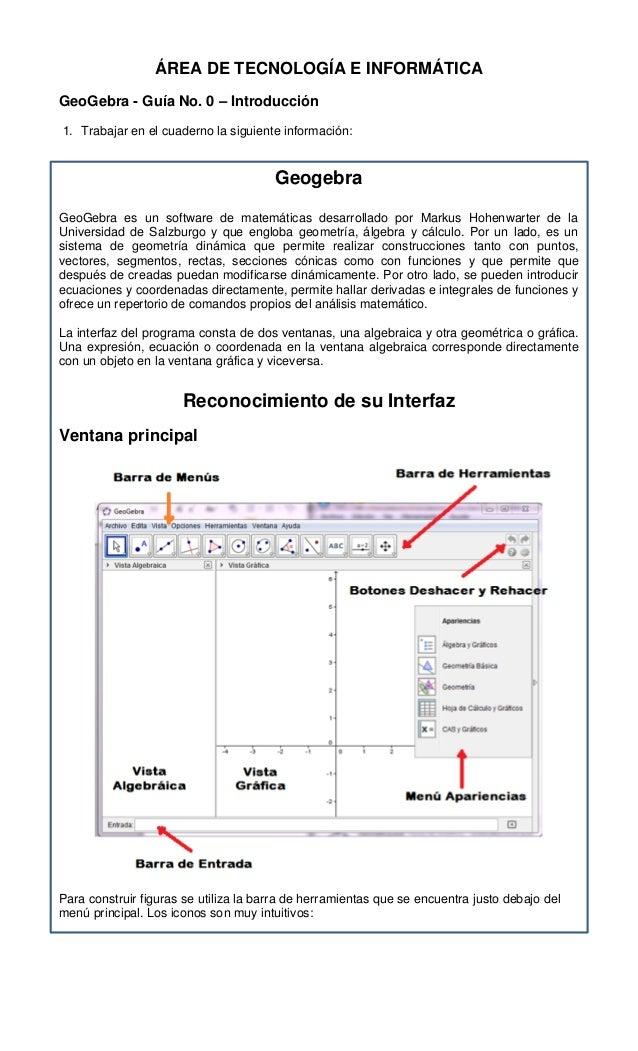 ÁREA DE TECNOLOGÍA E INFORMÁTICA GeoGebra - Guía No. 0 – Introducción 1. Trabajar en el cuaderno la siguiente información:...