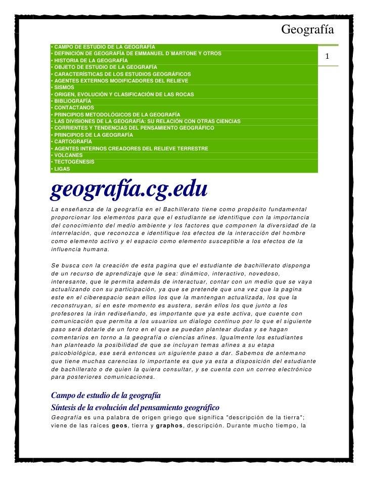 •Campo de estudio de la geografÍa<br />•DefiniciÓn de geografía de Emmanuel D´Martone y otros <br />•Historia de la geo...