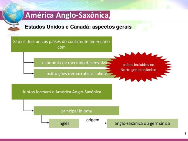 América Anglo-Saxônica, Japão e Oceania Estados Unidos e Canadá: aspectos gerais São os dois únicos países do continente a...