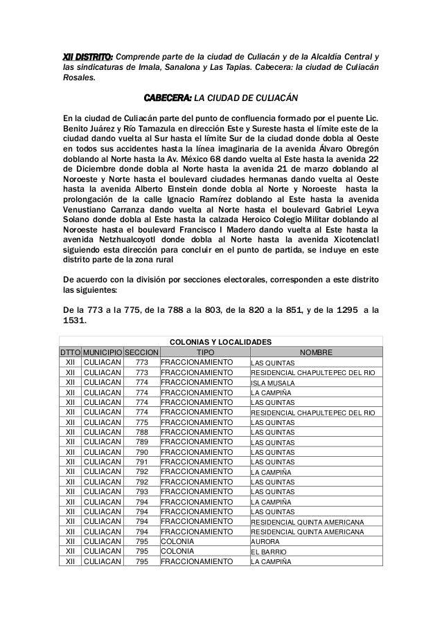 XII DISTRITO: Comprende parte de la ciudad de Culiacán y de la Alcaldía Central y las sindicaturas de Imala, Sanalona y La...