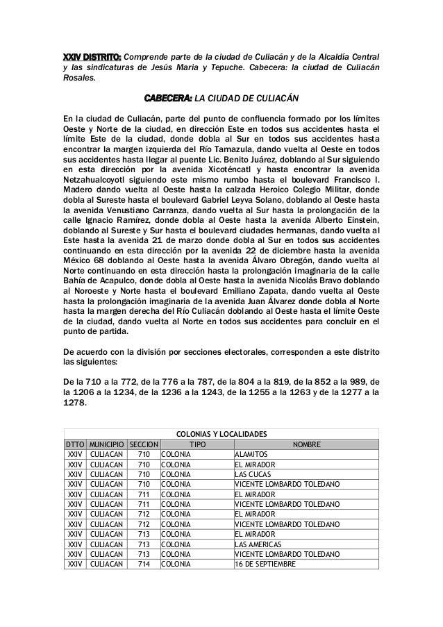 XXIV DISTRITO: Comprende parte de la ciudad de Culiacán y de la Alcaldía Central y las sindicaturas de Jesús Maria y Tepuc...